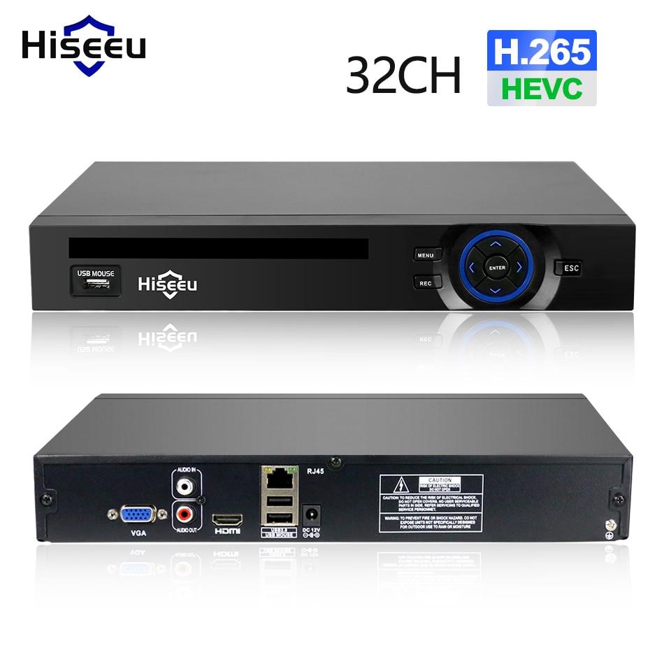 Hiseeu 2HDD 25CH 5MP 32CH 1080P 8CH 4K видеонаблюдения H.264/H.265 NVR DVR сетевой видеорегистратор Onvif 2,0 для IP камеры 2 SATA XMEYE P2P