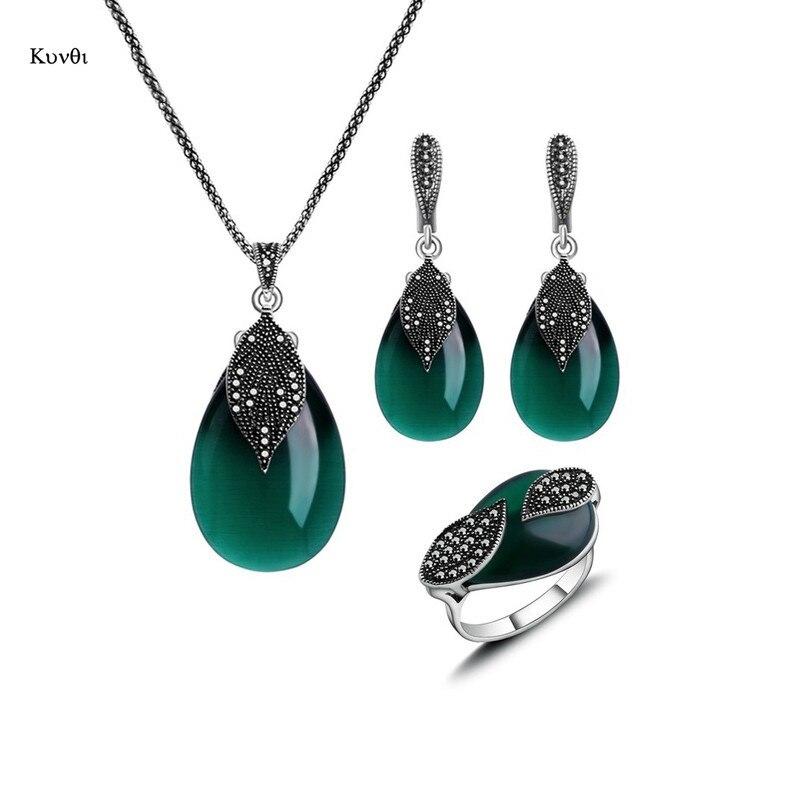 Женский винтажный набор украшений, ожерелье с подвеской из натурального камня, серьги, кольца, красный, зеленый, серебристый цвета, капли воды из опала