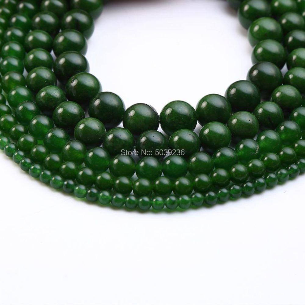 Оптовая продажа темно-зеленый нефрит бусины из природного камня свободные шарики 4mm 6mm 8mm 10mm 12мм рукоделие для самостоятельного изготовления ювелирных изделий браслет Цепочки и ожерелья
