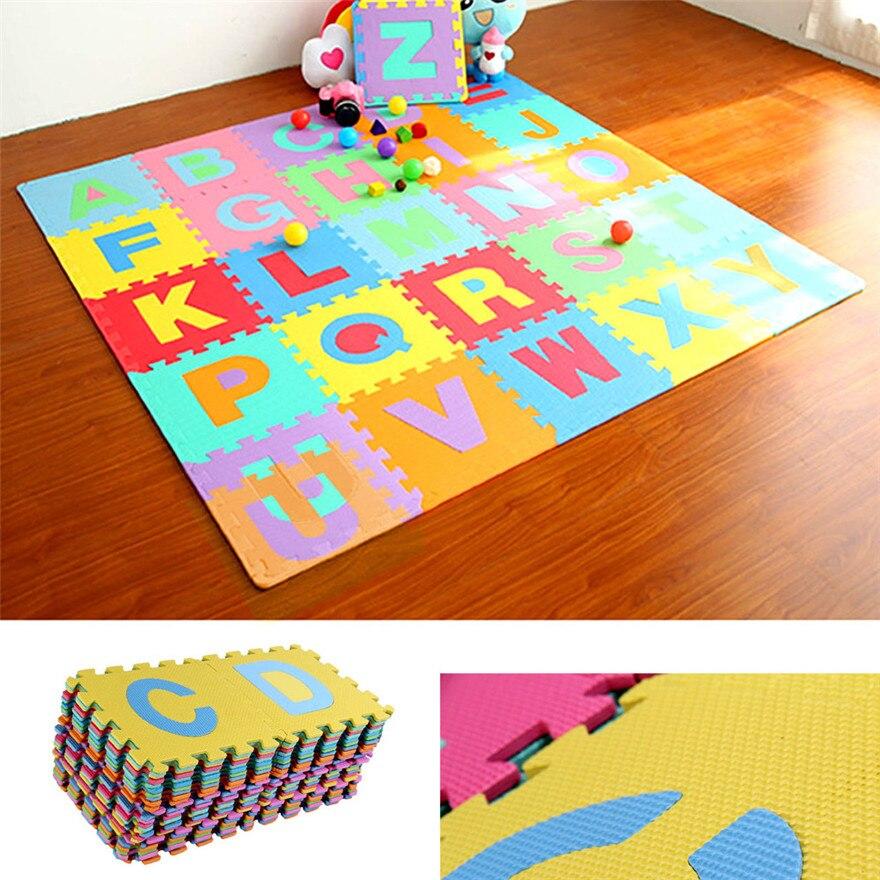 36 Uds gran alfabeto números EVA estera de suelo juego habitación de bebé rompecabezas ABC espuma rompecabezas alfombras para casa 15,5*15,5 cm #1226 A #487
