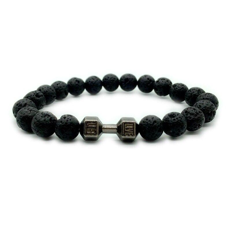 Negro piedra de Lava 8mm abalorios de piedra negra Fitness pulseras con mancuernas de los hombres energía DIY joyas de haltera de oro pulsera de plata negro