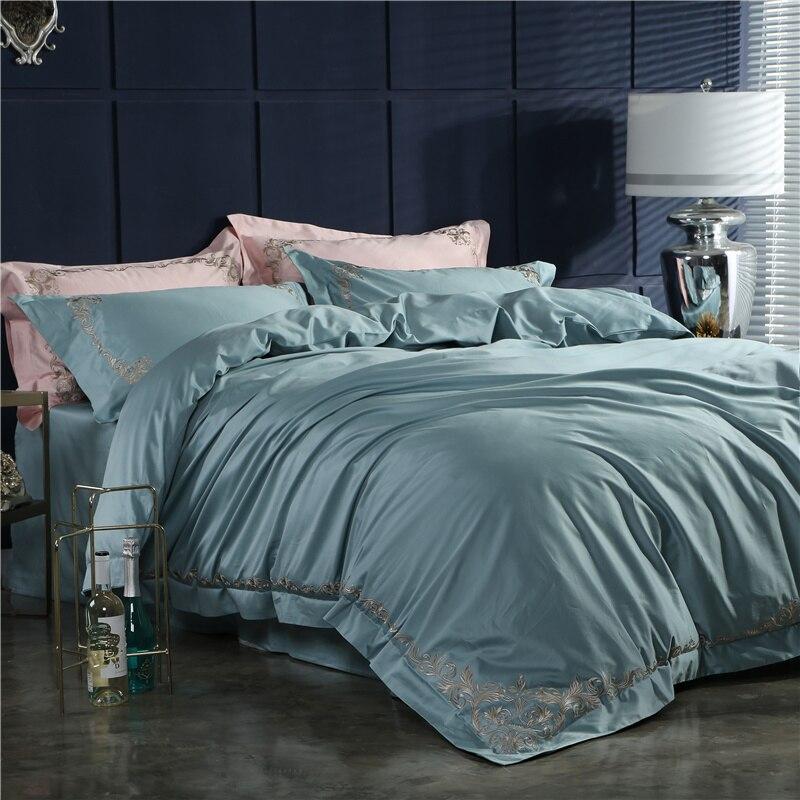 100% de algodón egipcio acolchado bordado juego de cama 4 Uds tamaño King queen juego de sábanas de estilo Simple almohada shams