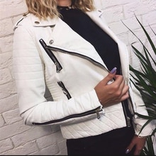 Femmes veste en cuir moto automne fermeture éclair manches longues doux Faux cuir vestes blanc dames femmes manteaux vêtements dextérieur