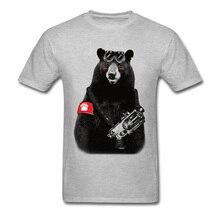 T-shirt décontracté marque à manches courtes jeunesse étudiant t-shirts gris russie ours rebelle la révolution soulèvement t-shirts hauts t-shirts drôles