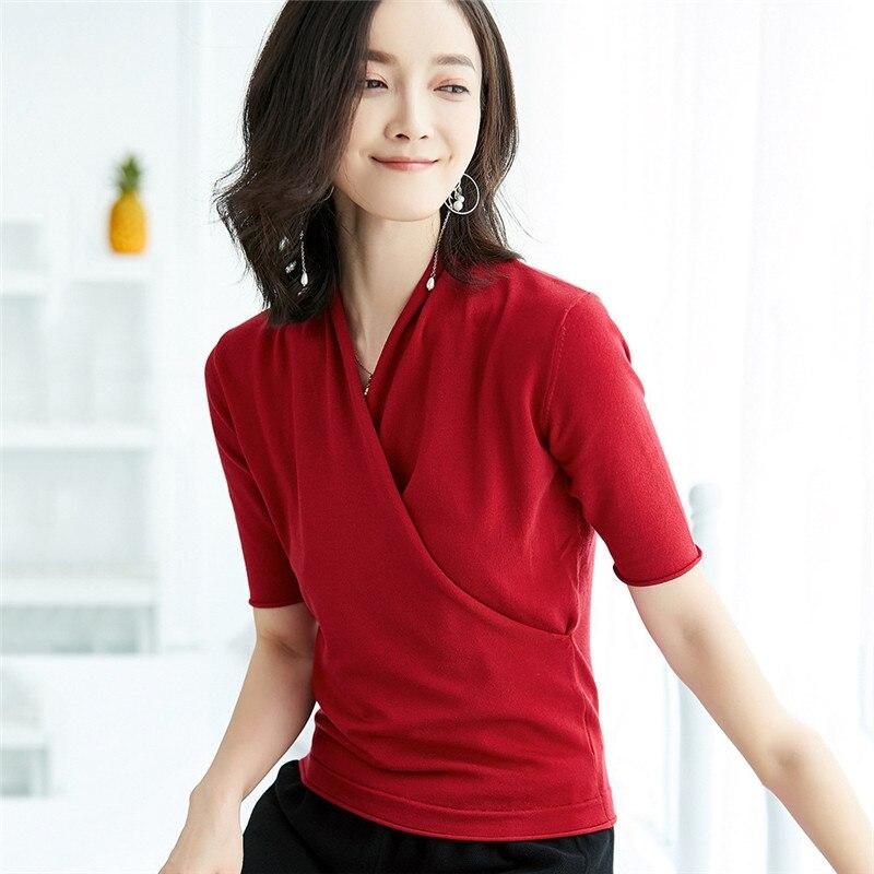 Spring T Shirt Women Plus Size Tops 2019 Summer New Office V Neck Sexy Slim T Shirt Half Sleeve Loose Short Tops Feminina CX632