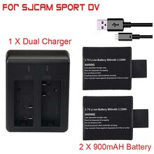 Newest 2pcs/set 3.7V 900mAh SJ4000 SJ5000 SJ6000 Battery + Dual Battery Charger for SJCAM SJ 4000 5000 Camera Accessories