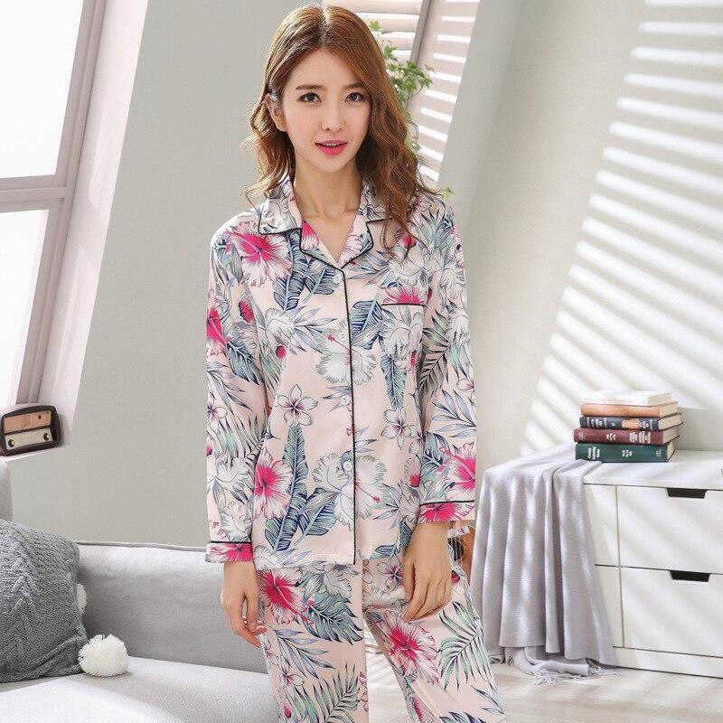 Mujer pijama imitación seda ropa de dormir satén pijamas conjunto estampado de flores manga larga otoño ropa de invierno blanco