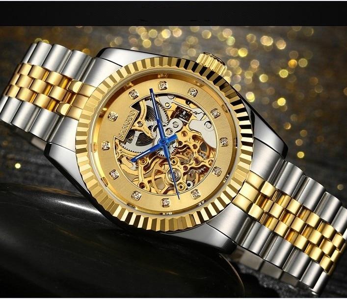 38 ملليمتر sangdo watchesho llow خارج التلقائي الذاتي الرياح فاخرة حركة الساعات الميكانيكية الذهب تصفيح 18 كيلو اللون الرجال وتش SD057S