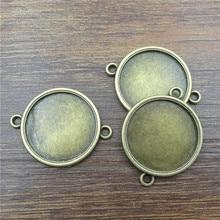 10 pièces 20mm Bronze Connecteurs Ronds Collier Pendentif Cabochon Camée Base Plateau Lunette Blanc Trouvailles De Bijoux et composants