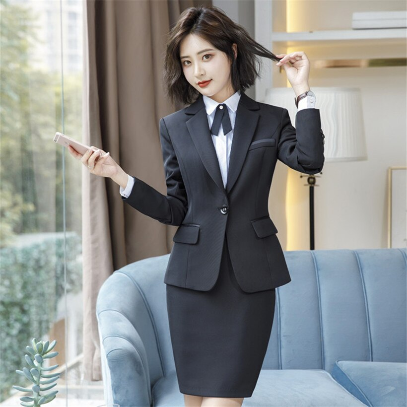 جديد أنيق الأعمال تنورة دعوى النساء الخريف الرسمية طويلة الأكمام ضئيلة الوظيفي السترة و تنورة مكتب السيدات حجم كبير s-4xl
