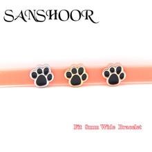 SANSHOOR Jewelry Little Feet Slide Charms fit 8mm Wide Mesh Leather Wrap Bracelet Wristband for Female lovers
