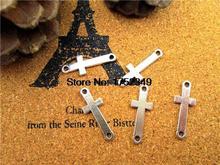105pcs-croix charmes, Antique argent côté Mini croix charme/pendentif connecteur 26x10mm