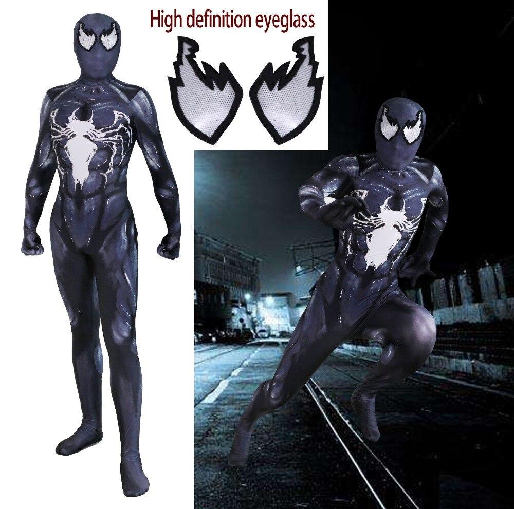 Película Venom Symbiote cosplay Super hero Spiderman niños niño disfraces Fullbody Zentai traje adulto hombre mono manga larga