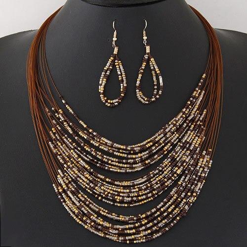 DIEZI, nuevas cuentas de conjuntos de joyas africanas a la moda, multicapa bohemio, colorido, para mujer, joyería para mujer, collar de declaración, conjunto de pendientes