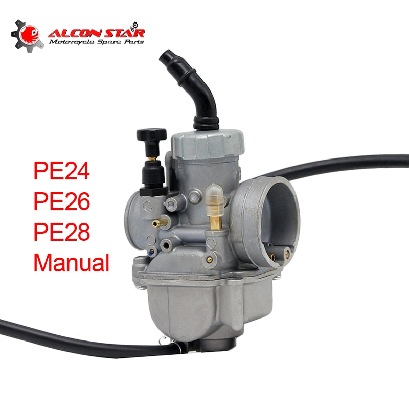 Carburador de motocicleta Alconstar, carburador PE24 PE26 PE28 24mm 26mm 28mm, deslizador plano Manual de coche para ciclomotor ATV Dirt Bike