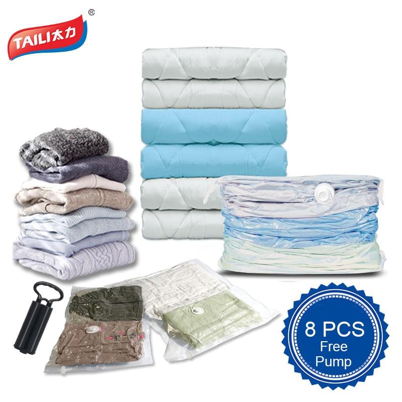 8 PCS+ 1 Hand Pump Vacuum Storage Bag JUMBO Large Space Saver Cube Bag organizer for Clothes Blanket Toy Wardrobe Bed Sheets