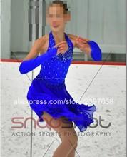 Filles patinage artistique robe bleu femmes patinage artistique robe adulte compétition patinage artistique danse robes livraison gratuite G98