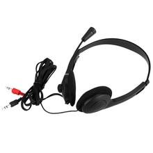 Para ordenador portátil de escritorio 3,5mm auriculares estéreo con cable auriculares con cancelación de ruido con micrófono diadema ajustable