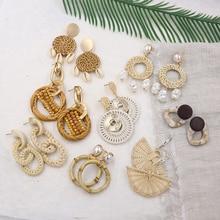 Boucles doreilles en rotin naturel pour femmes été coquille boucle doreille paille tissé en osier boucles doreilles Vintage bois bijoux Pendientes Mimbre