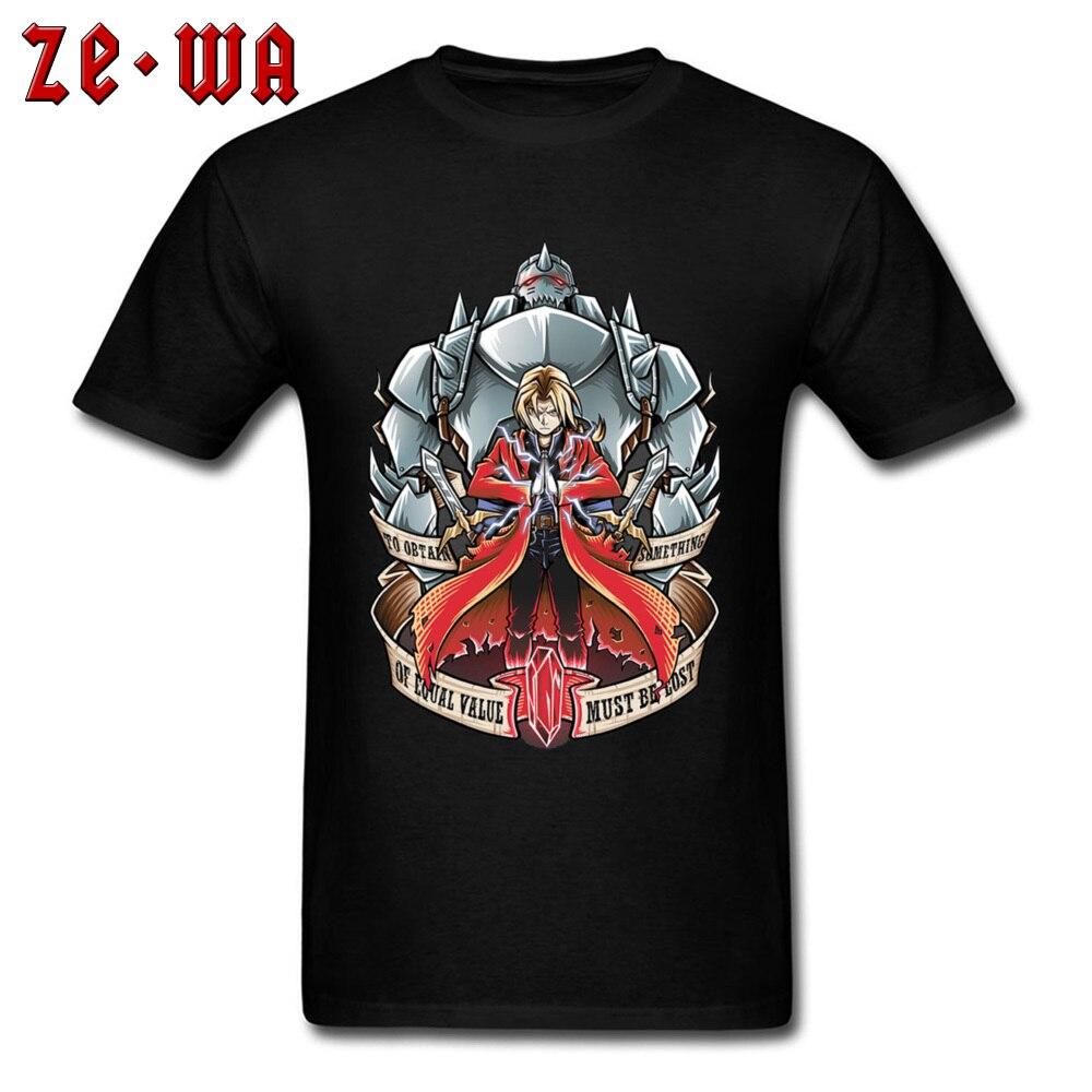 Totalmente de algodón, camisetas para hombre, Fullmetal Alchemist, camiseta Edward Elric, camisetas japonesas de Anime, camiseta Punk Robot equivalente a Streetwear