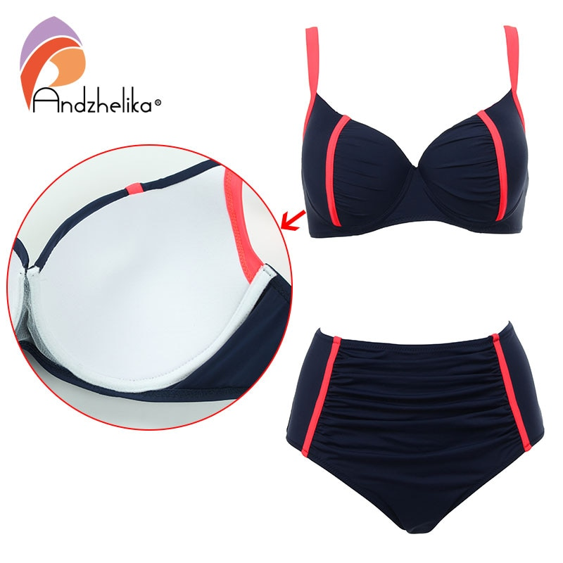 Andzhelika New Women Swimsuit Plus Size XL-4XL Bikini Sexy High Waist Beach Swimwear Fold Patchwork Bathing Suit Maillot de bain