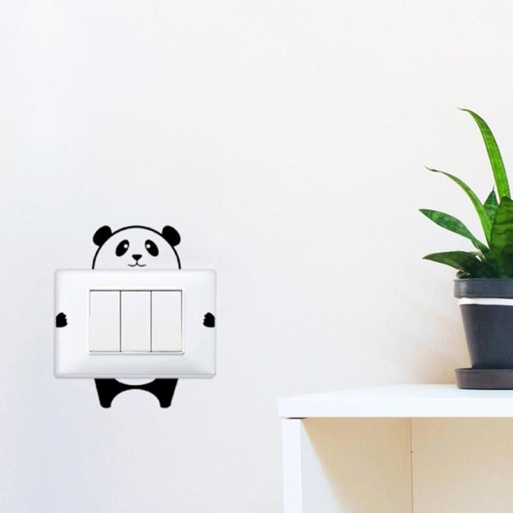 Adesivos de parede panda interruptor cartaz paster decalques papel de parede casa desenho sala decoração da cozinha telha