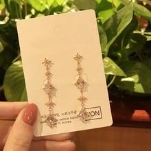 MENGJIQIAO 2019 Korean New Fashion Jewelry White Crystal  Drop Pendientes Mujer Moda Elegant Dangle Earings