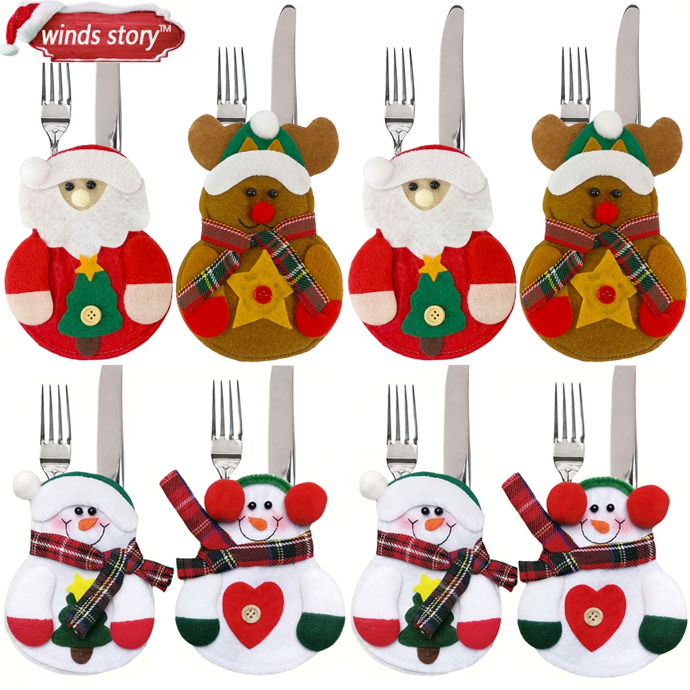 Boneco para utensílios de talheres em 8pçs, boneco para utensílios de talheres de cozinha, decoração de natal para mesa em casa, enfeite de natal