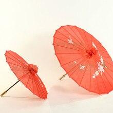 Çin Kırmızı Şemsiye Şeftali Çiçeği Güneş Şemsiyesi bambu kağıt Zanaat Şemsiye Geleneksel Dans Renk Şemsiye Düğün Sahne 55 cm