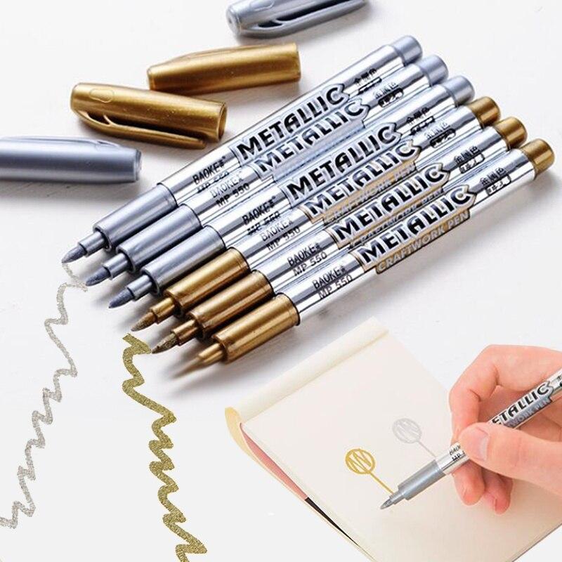Baoke marqueurs métalliques bricolage Album Photo argent or métal couleur marqueurs de peinture pour la fabrication de cartes cuir pierre fenêtres dessiner stylos