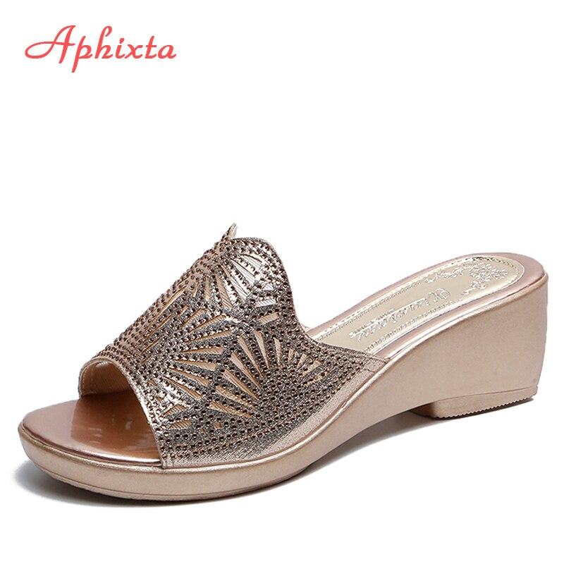 Aphixta Wedges Shoes Women Slippers Women Luxury Open Peep Toes Summer Shoes Black Slippers Women Slides Peep Toe Beach Sandals