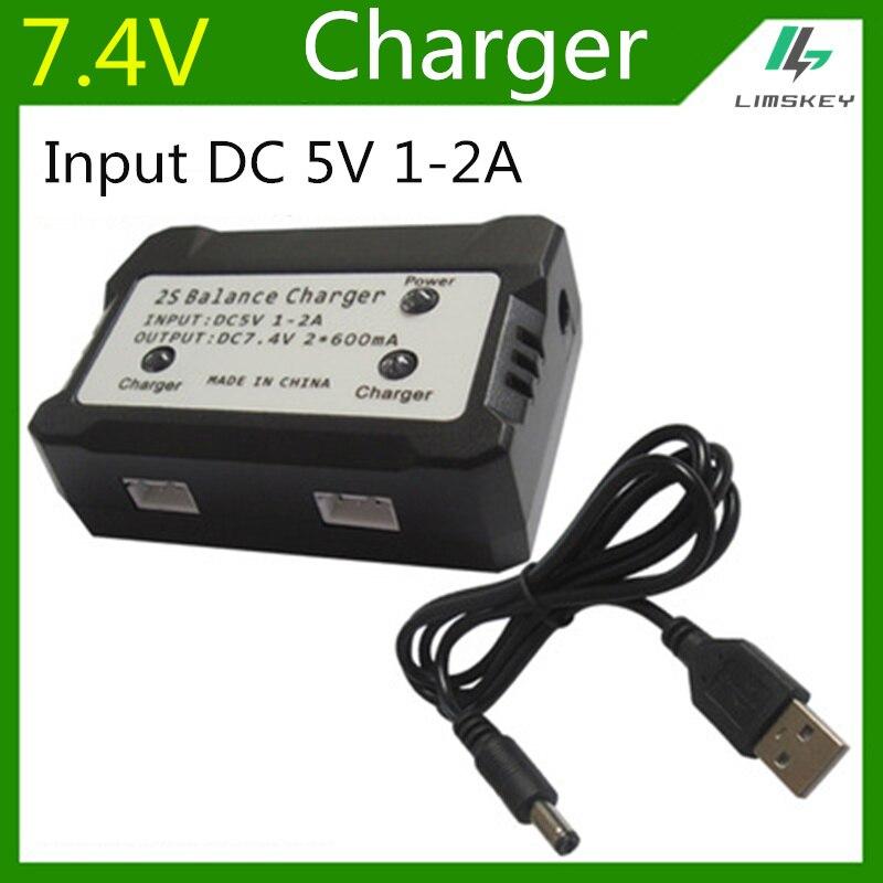 7,4 в 600 мА зарядное устройство для 2S Lipo батарея для Syma X8C MJX X600 X101 RC игрушки 7,4 В баланс зарядное устройство штекер вход DC 5 в 1-2A
