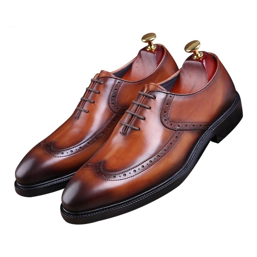 أزياء أسود/براون جوديير فيلت أحذية أوكسفورد الفتيان أحذية الزفاف جلد طبيعي الأحذية رجل الأعمال اللباس أحذية