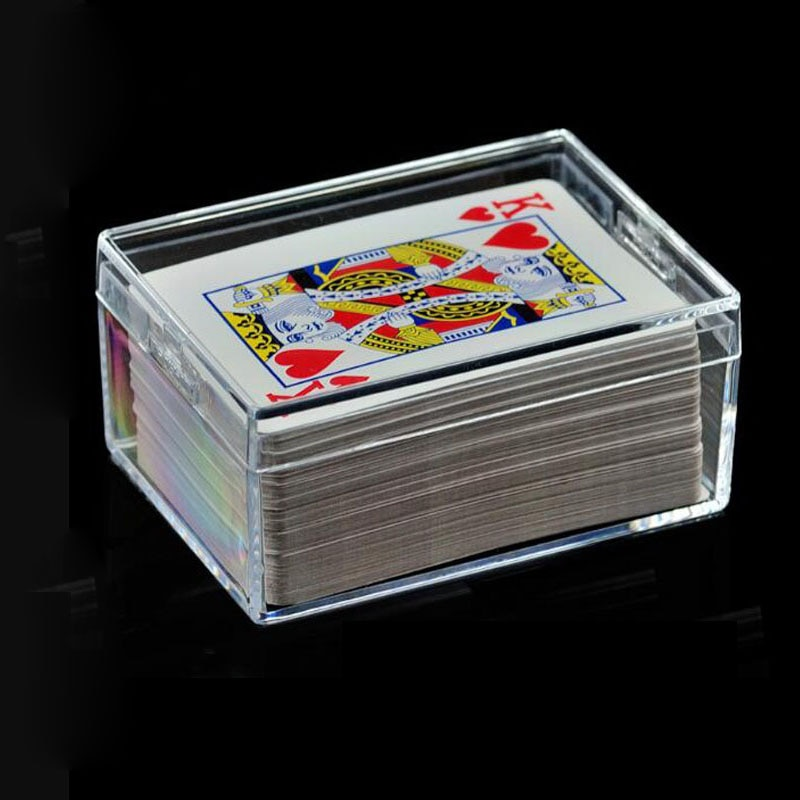 Caja transparente sellada de 100 Uds PS caja de plástico Rectangular de Poker tarjeta de visita caja de almacenamiento clara ZA6221