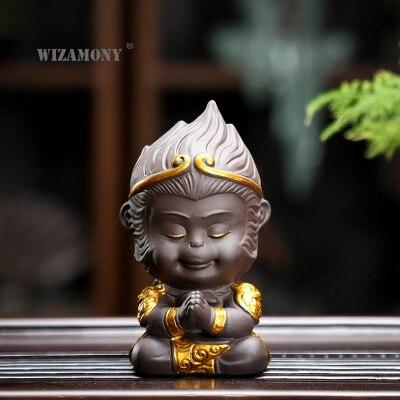 WIZAMONY Chinese Purple Clay Kung Fu tea Set Tea Pet  Monkey King display car Tea Accessories for puer Oolong Tea Home Deco