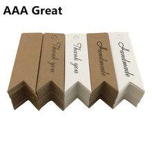 100 Pcs/Lot Kraft papier cartes postales cartes petits cadeaux papeterie à la main blanc signet étiquette de mariage fête de noël