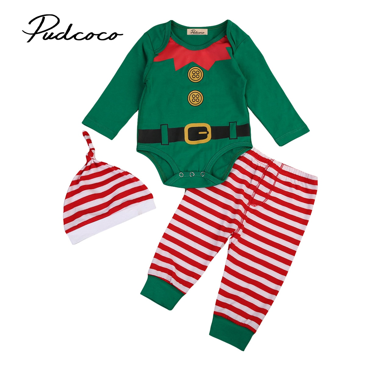 2017 New Year Babies 3 pcs Xmas Clothing Set Newborn Baby Boys Girls Bodysuit Pants Hat Outfits Set Christmas Clothes 0-24M