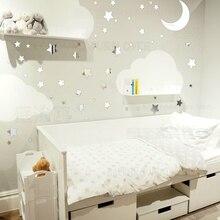 Pegatinas de pared de espejo de 65 Uds., pegatina de pared, decoración de estrella, Luna, brillo, niños, niñas, guardería, niño, bebé R064