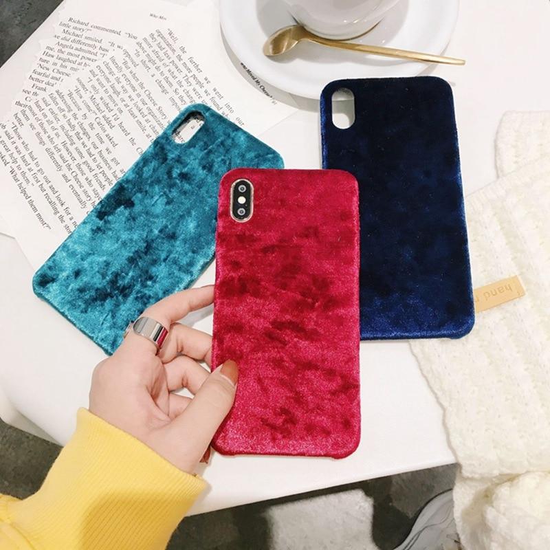 Carcasa para iPhone 6 De Teléfono de terciopelo reflectante rojo 6s 7 8 Plus verde todo incluido Anti-caída cubierta suave XS Max XS XR X