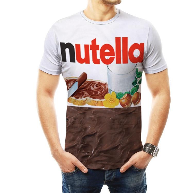 WBDDT camisetas Nutella 3d hombres moda Top gráfico divertido camiseta Harajuku camiseta ropa para hombre Streetwear Unisex Drop Shipping