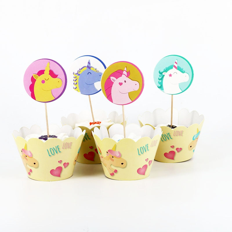 24 Uds adorable unicornio caballo papel pastel Cupcake envoltorios Topper selecciones para niños cumpleaños materiales de decoración para boda favores