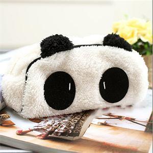 Lindo dibujo de gato Panda forma suave felpa pelusa maquillaje cosmético bolsa pluma lápiz estuche Organizador