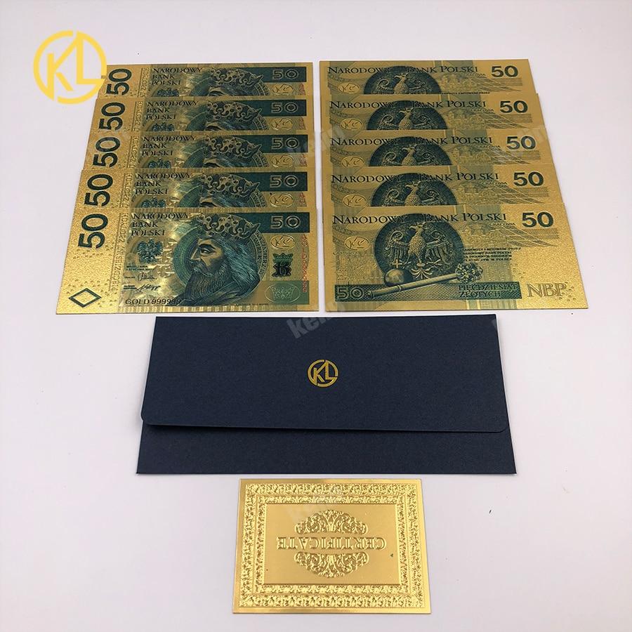 10 unids/lote Kelin coloreado 999,9 Moneda de billete de oro Polonia 50 PLN para regalos de negocios y decoración del hogar con certificado