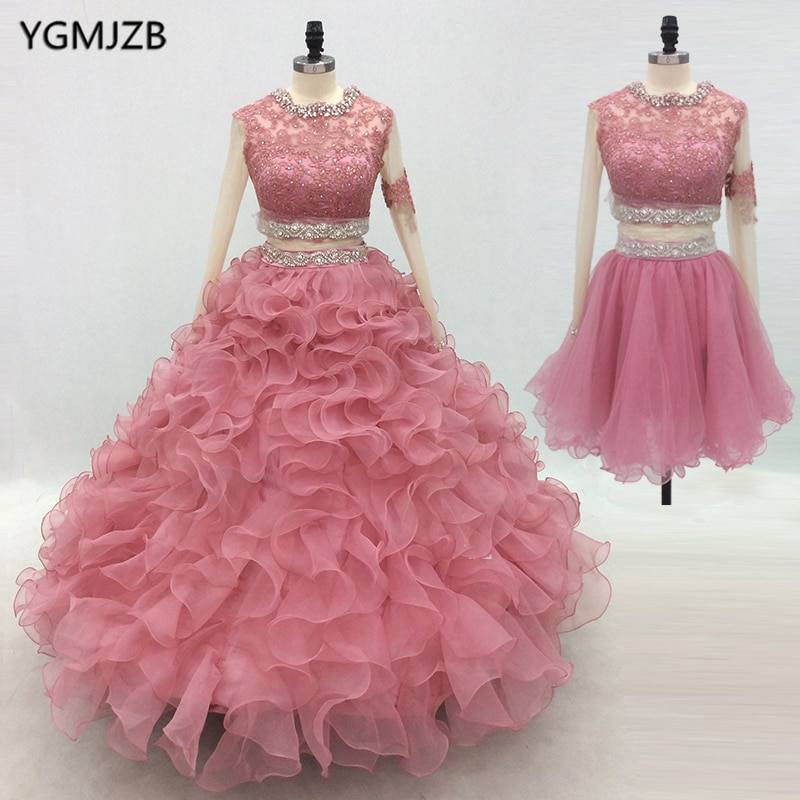 Organza Quinceanera Dresses 2018 Ball Gown Long Sleeves Crystal Embroidery Lace Puffy Prom Dress Sweet 16 Vestidos De 15 Anos