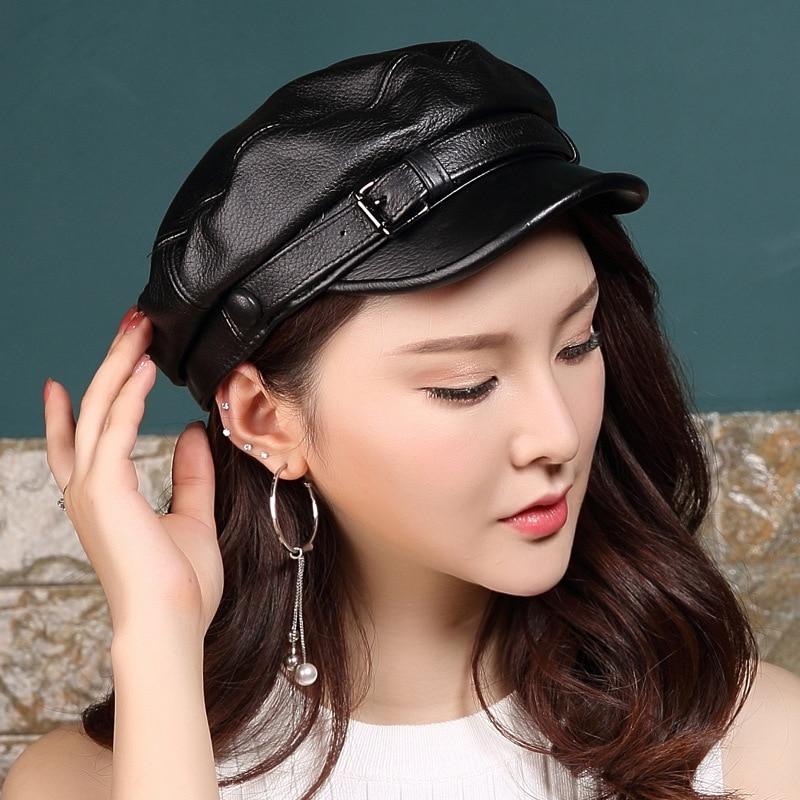 قبعة عسكرية من الجلد الصناعي للرجال والنساء ، قبعة شبابية غير رسمية من جلد الغنم ، أزياء الربيع والخريف والشتاء ، H6987