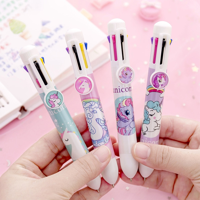 1X lindo unicornio de Kawaii 8 Color prensa bolígrafo Oficina de la Escuela de plumas de dibujo pluma niños papelería regalo