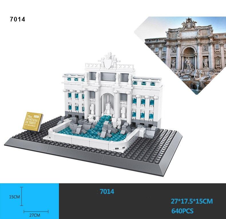 Bloques de modelismo de arquitectura de fama mundial, Italia, Roma, Fontana di tvivi, conjunto de bloques de construcción, colección de juguetes educativos