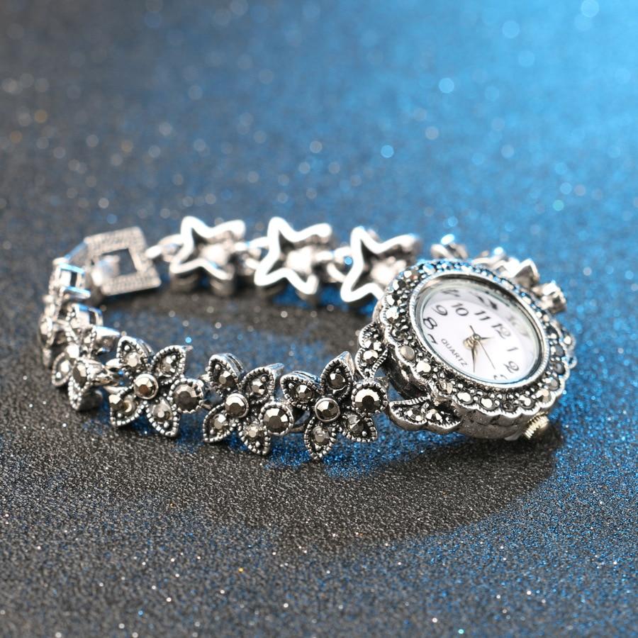 Retro Silver Quartz Wristwatch Women's Bracelet Watches Top Brand Luxury Lady Dress Watches Crystal Jewelry Gifts Reloj Mujer enlarge