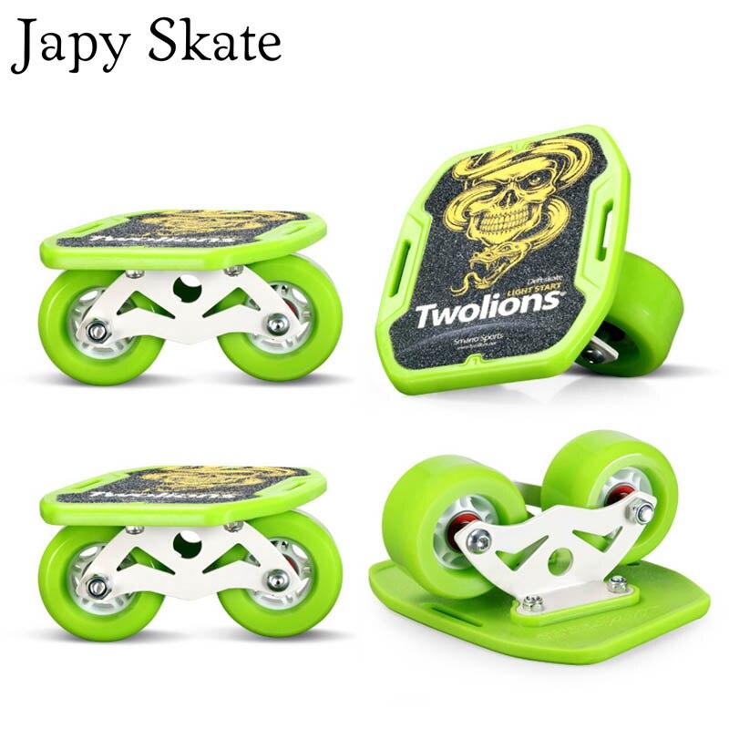 Patines Japy Patines clásicos Dazzle Drift Board plata aluminio Línea libre Patines Scrub Patines antideslizante Skateboard Deck 82A ruedas