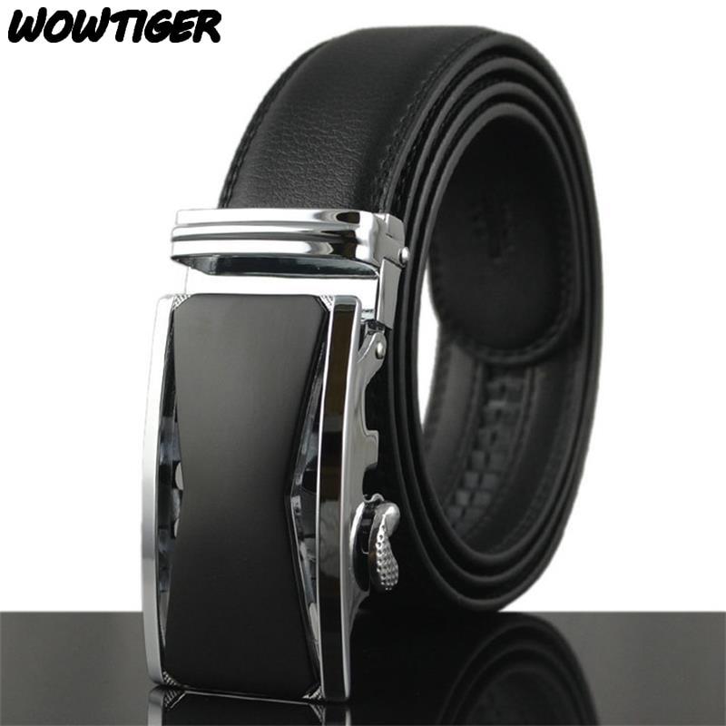 WOWTIGER New Fashion Deluxe Automatic button belt Leather Luxury men belt 110cm-130cm belts for men